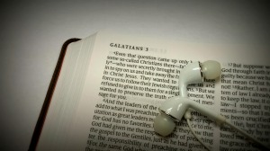 Bible with ear buds